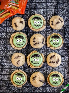 frankenstein cookies on a black halloween background