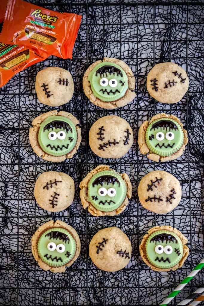 frankenstein cookies on a black halloween background