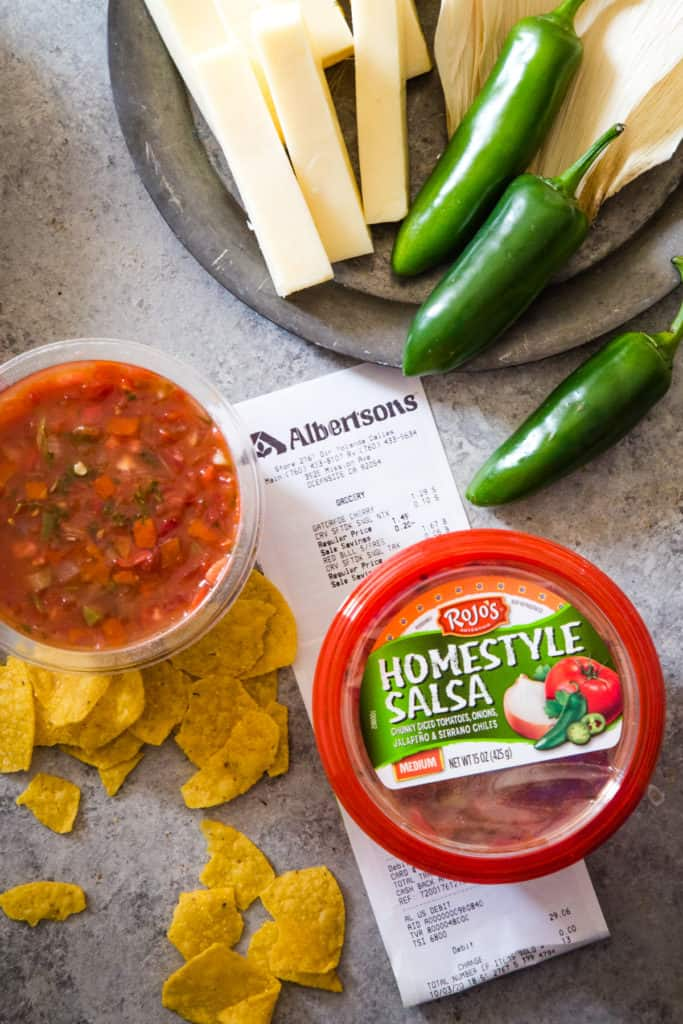 rojos salsa and ingredients to make jalapeno cheese tamales