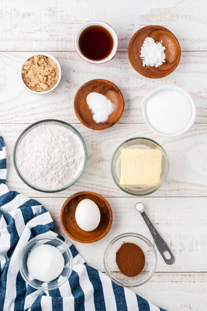 ingredients in bowls to make maple snickerdoodles