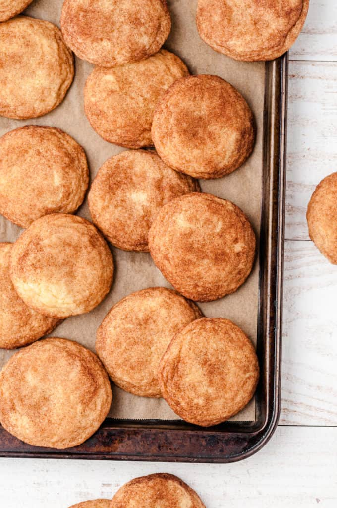 baking sheet with maple snickerdoodles