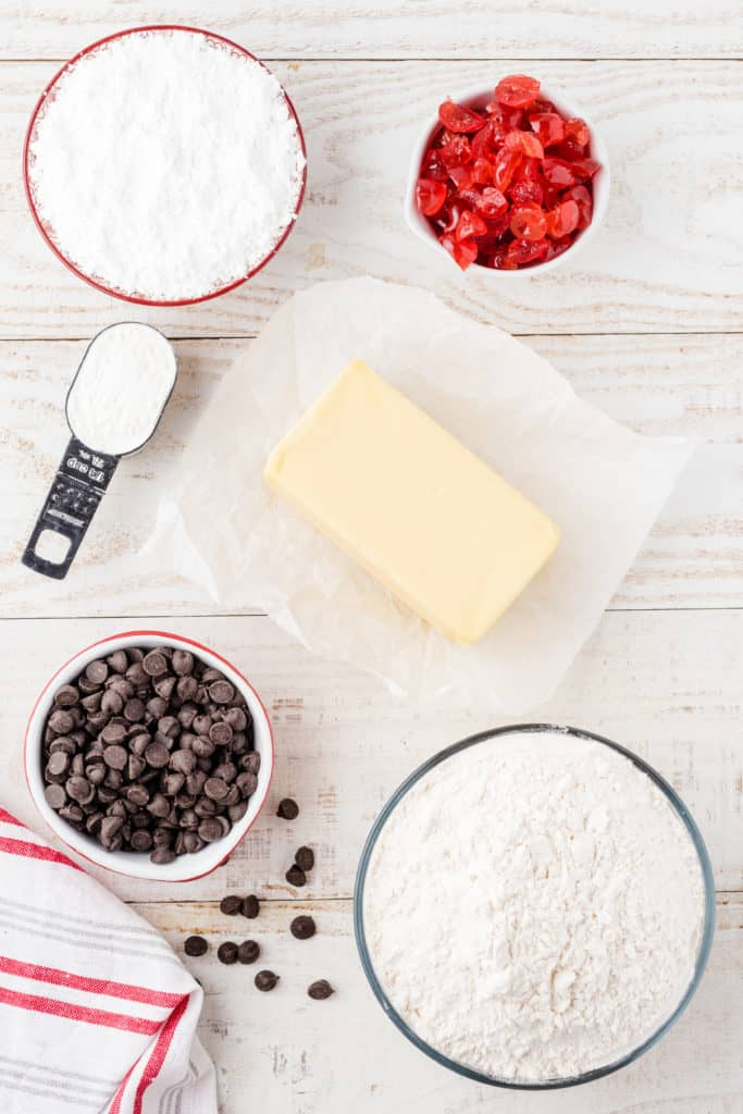 ingredients for chocolate cherry shortbread cookies