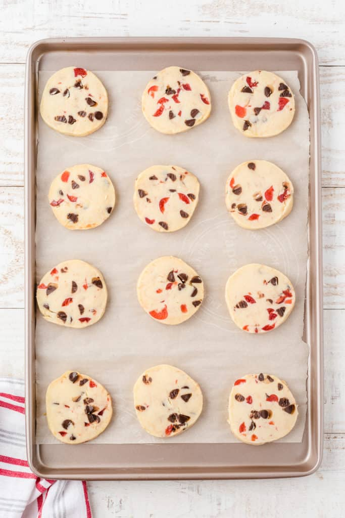 cookie sheet with dark chocolate cherry shortbread cookies