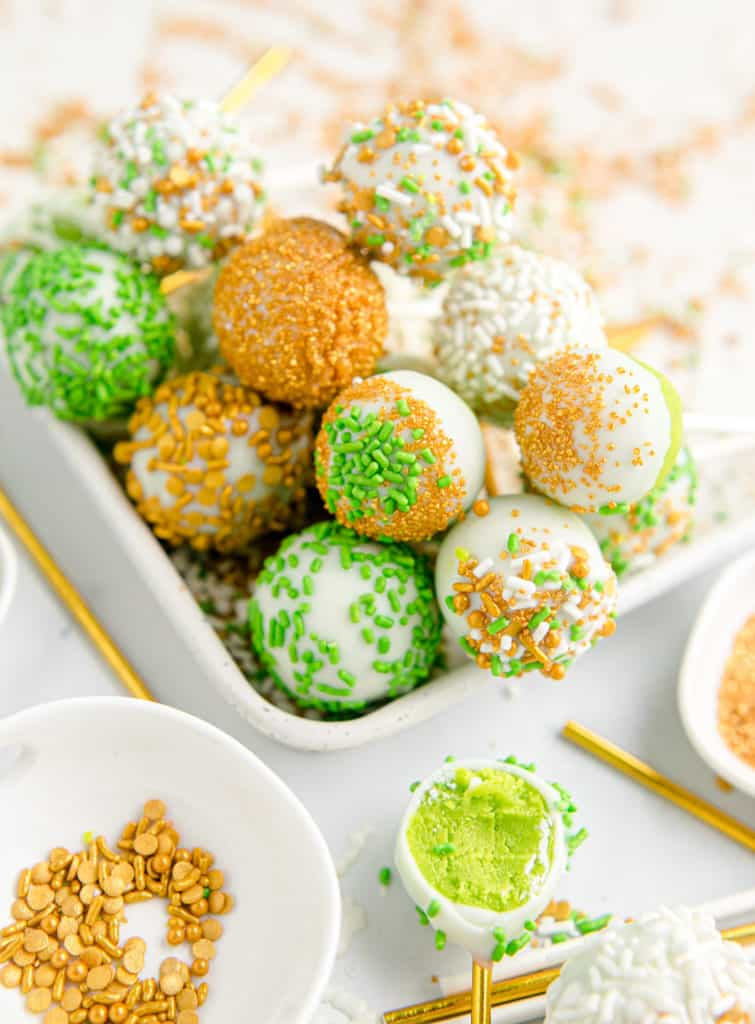 st. Pattys day cake pops in white tray