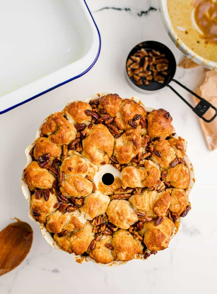 baked monkey bread out of the pan