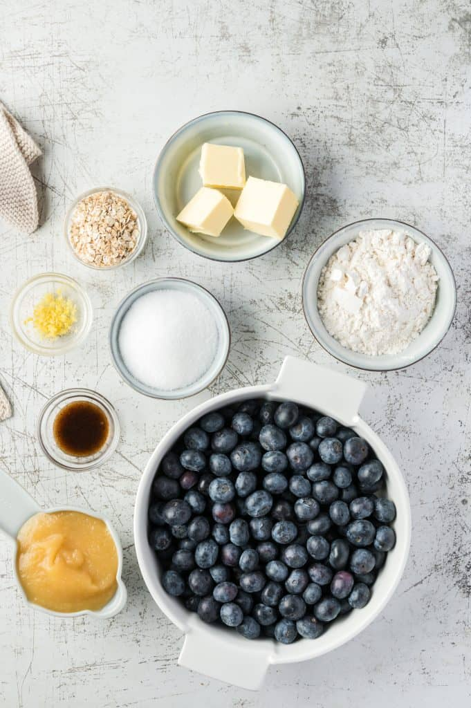 ingredients for air fryer blueberry crumbed