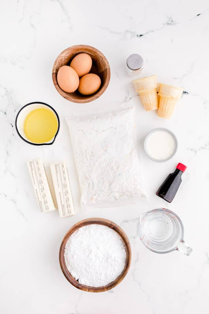 ingredients for ice cream cone cupcakes