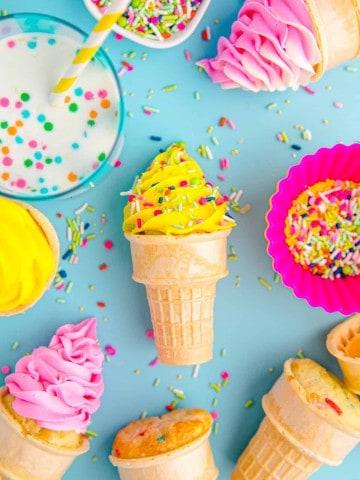 ice cream cone cupcakes on blue background