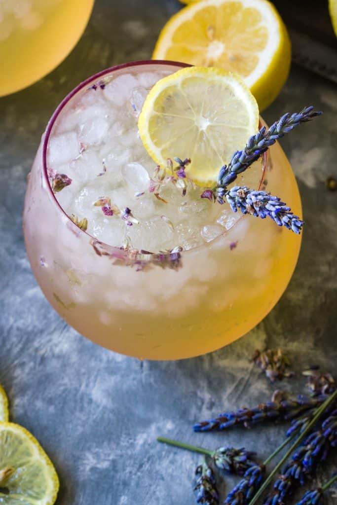 overhead shot of lavender lemonade in pink glass