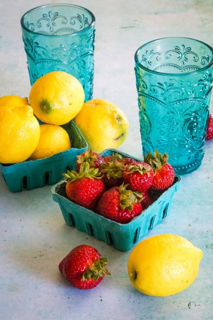 ingredients for strawberry lemonade