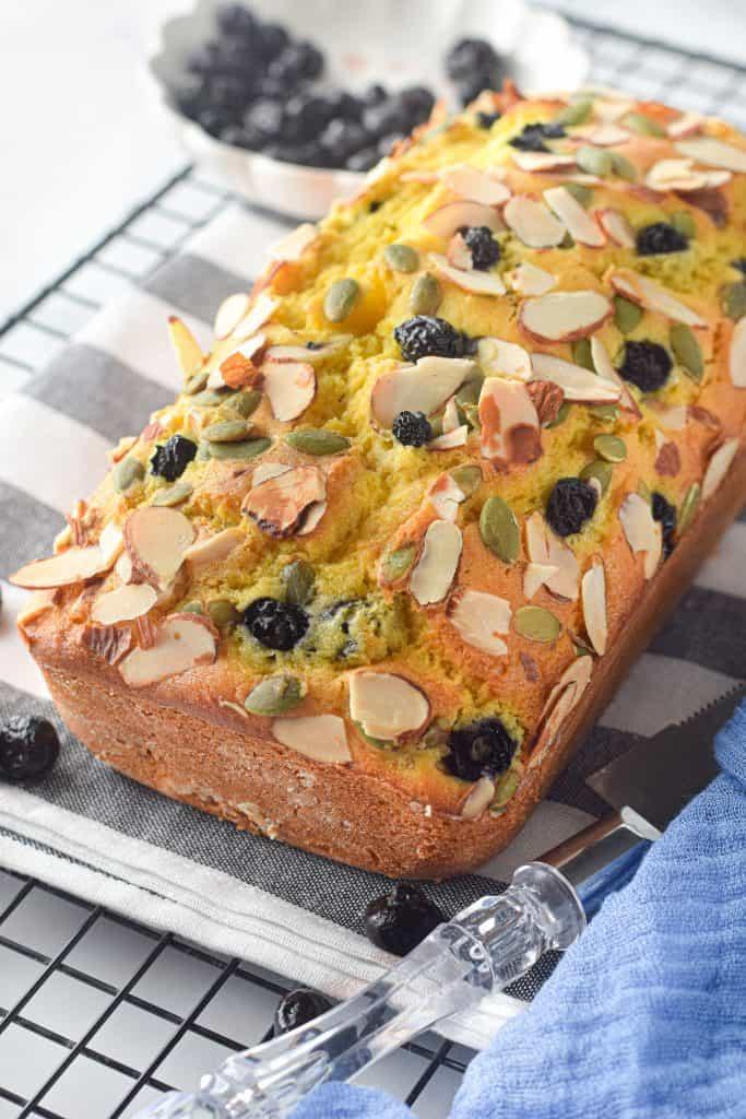 baked pumpkin blueberry bread on cooling rack