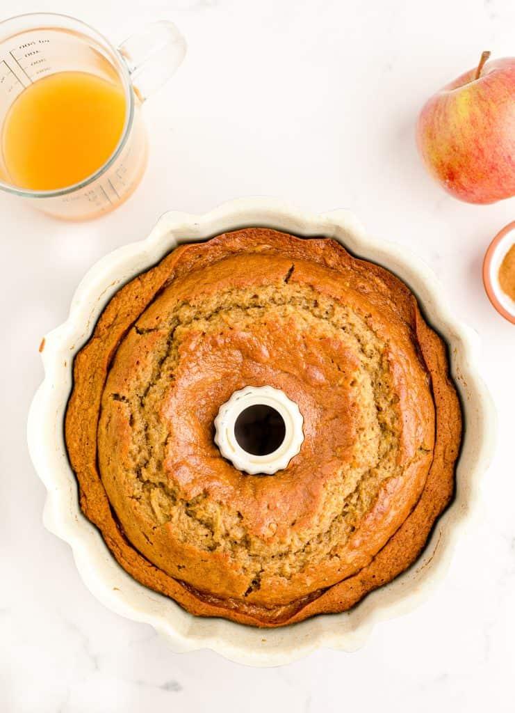baked donut cake in bundt pan