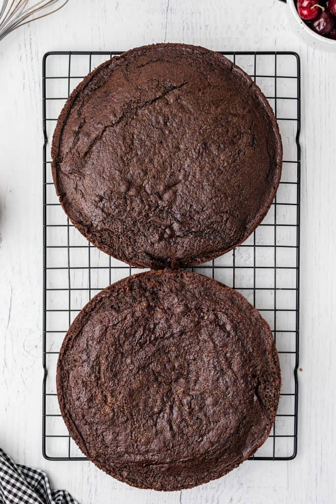 chocolate cakes on cooling rack