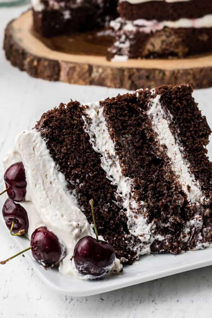 slice of black forest cake on white plate
