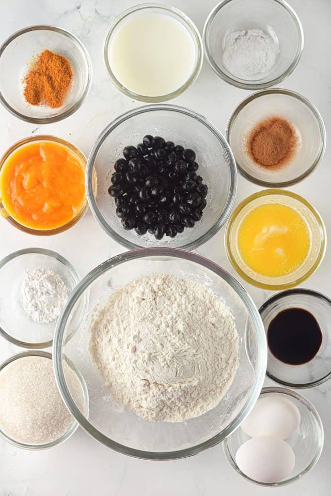 ingredients for pumpkin blueberry bread