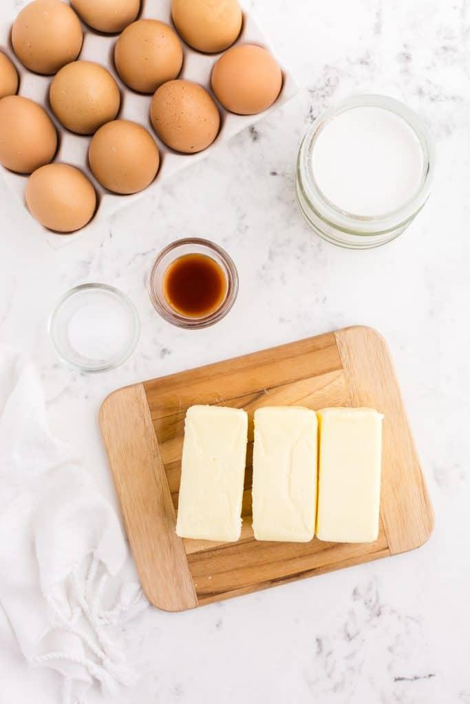 ingredients for swiss meringue buttercream