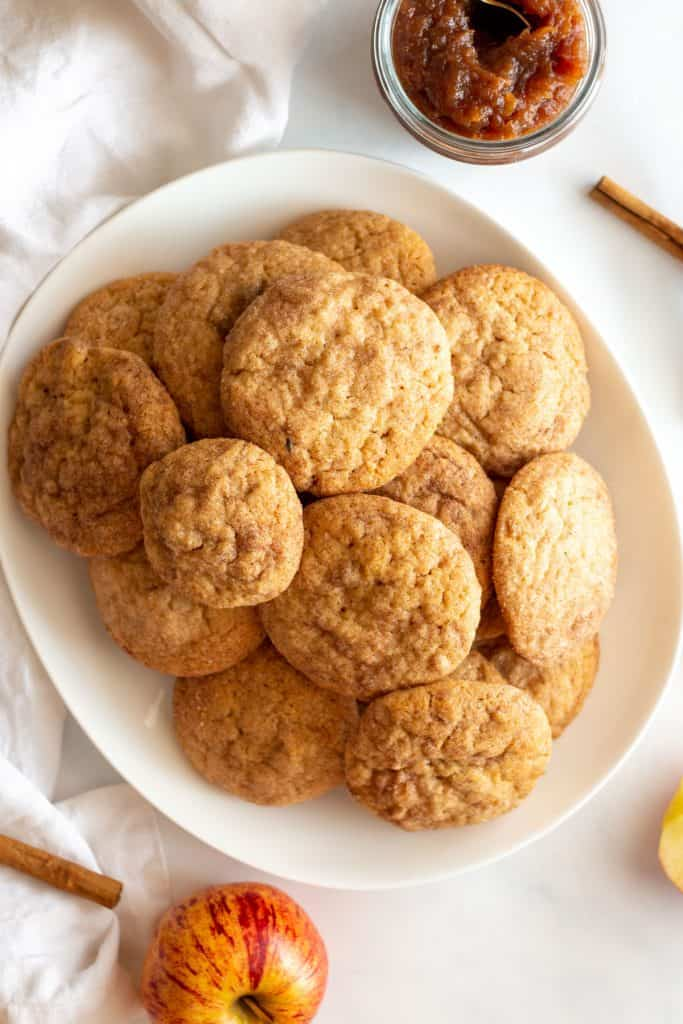 large white tray of apple butter snickerdoodles