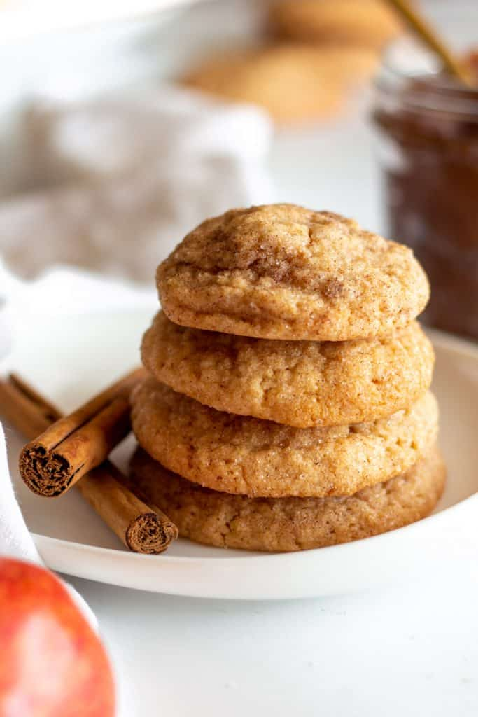 stack of 4 snickerdoodles oin white plate