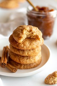 stack of apple butter snickerdoodles on white plate