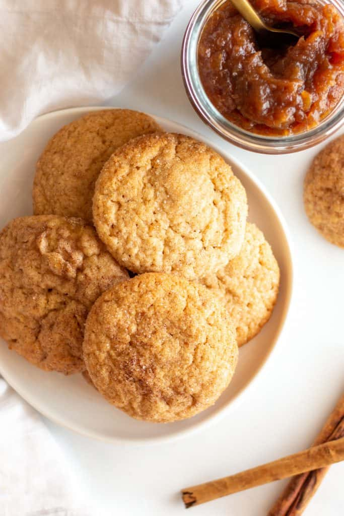 overhead shot of plate of apple butter snickerdoodles
