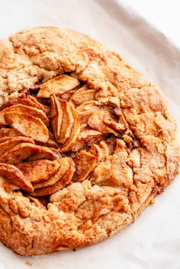up close photo of baked apple galette