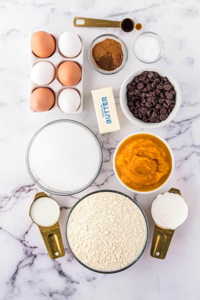 ingredients for pumpkin chocolate chip Bundt Cake