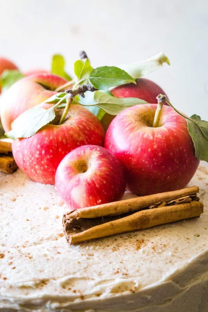 fresh apple on cake