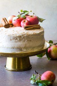 apple cider cake on gold cake plate