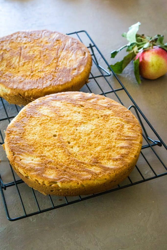 apple cider cake layers on cooling rack