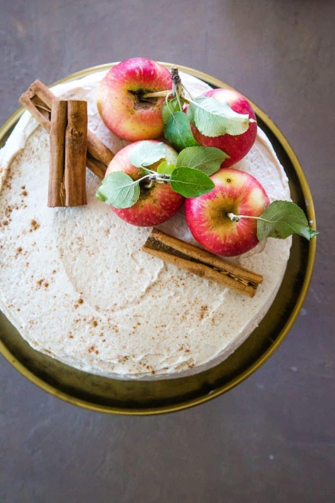 overhead shot of apple cider cake