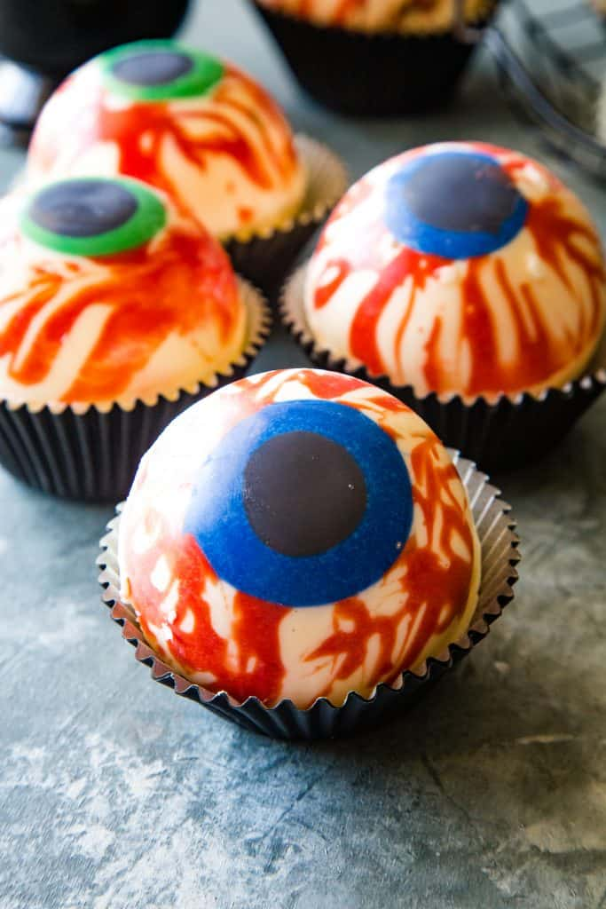 eye ball hot cocoa bombs in cupcake liner