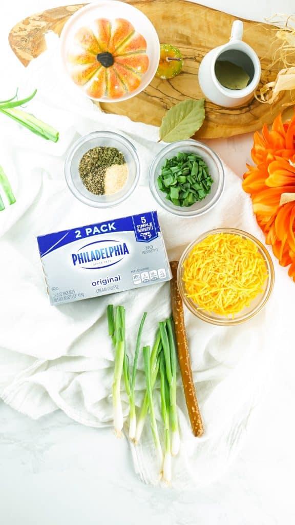 ingredients to make pumpkin shaped cheeseball