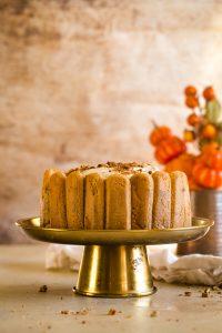 pumpkin tiramisu on gold cake plate